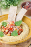 Hummus With A Salad Of Chickpeas And Tomatoes Royalty Free Stock Photography