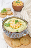 Hummus With Cilantro And Crackers Stock Photos