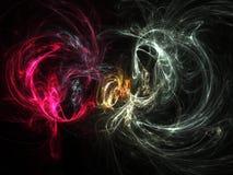 Humo abstracto/blanco + rojo del fractal stock de ilustración