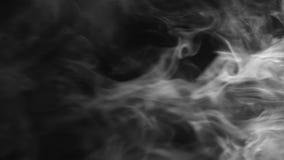 Humo blanco en posición vertical sobre negro almacen de video