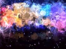 Humo blanco y fondo colorido del cielo stock de ilustración
