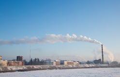 Humo de la estación termal Día (frío) escarchado fotografía de archivo