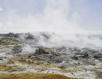 humo de la lava de la montaña de Islandia del vulcano Imagenes de archivo