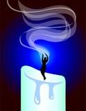 Humo de la vela de la meditación foto de archivo