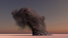 Humo grande en el desierto Foto de archivo libre de regalías