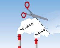 Humo industrial de la chimenea, cortando concepto de la contaminación stock de ilustración