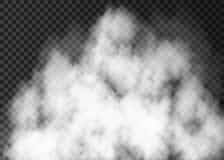 Humo realista blanco en fondo transparente Fotografía de archivo