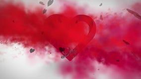 Humo rojo con el mensaje de las tarjetas del día de San Valentín