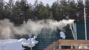 Humo y vapor de la chimenea sobre casa del tejado en el bosque almacen de metraje de vídeo