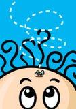 Humor Cartoon. Humorous cartoon little boy with fly Royalty Free Stock Image
