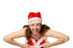 Humor christmas man in bikini  Stock Photos