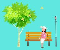 Humor da mola, parque outdoor A menina de assento no banco está sonhando Pássaros que cantam Céu azul cores suculentas brilhantes ilustração do vetor
