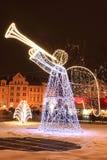 Humor de la Navidad en la vieja plaza nevosa de Praga Imágenes de archivo libres de regalías