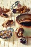 Humor del otoño: hojas caidas, castañas y taza enorme de café Fotos de archivo
