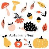 Humor del otoño Sistema del garabato de la temporada de otoño stock de ilustración