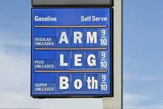 Humor del precio de la gasolina Imagen de archivo