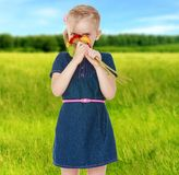Humor del verano una niña Fotografía de archivo libre de regalías