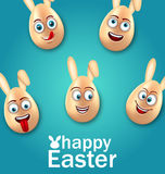 Humor Easter Card with Cheerful Eggs with Ears Stock Images