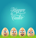 Humor Easter Card with Crazy Eggs on Grass Meadow Royalty Free Stock Photography