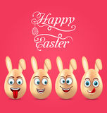 Humor Easter Invitation with Smiling Eggs with Ears Stock Image