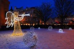 Humor en plaza nevosa de la noche la vieja, Praga, República Checa de la Navidad Imagen de archivo libre de regalías
