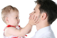 Humor family. The loving young father with a small daughter Royalty Free Stock Photography