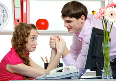 Humor Fighting Of Two Colleagues In Office Stock Photo