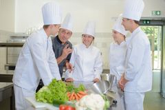 Humor in the kitchen. Man stock photo