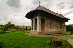 Humor monastery, Romania. Humor Monastery, dedicated to the Dormition of Virgin Mary. It is build in 1530 by Voievod Petru RareÅŸ and his chancellor Teodor royalty free stock images