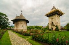 Humor monastery, Romania. Humor Monastery, dedicated to the Dormition of Virgin Mary. It is build in 1530 by Voievod Petru Rareş and his chancellor Teodor Stock Photos