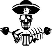 Humor piracy tavern symbol. Stencil vector illustration for design Stock Images