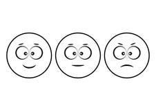Humor positivo, neutro e negativo, diferente do ícone dos emoticons dos smiley Caráteres engraçados Vetor ilustração stock