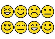 Humor positivo, neutro e negativo, diferente do ícone dos emoticons dos smiley Ilustração do vetor ilustração stock