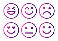 Humor positivo, neutro e negativo, diferente do ?cone dos emoticons dos smiley Ilustra??o do vetor ilustração stock