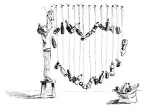 Humor skissar med hjärta- och avskrädeflaskor royaltyfri illustrationer