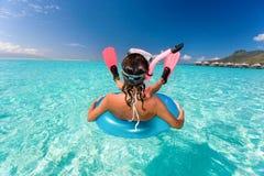 Humor snorkel woman resort stock images