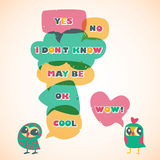 Humor speech bubbles with owls. Different sizes and forms. Stock Photography
