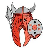 Humor starkes Lachs-Viking gekleidet in der Rüstung Stockfotos