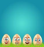 Humor Wielkanocna karta z Szalonymi jajkami na trawy łące royalty ilustracja