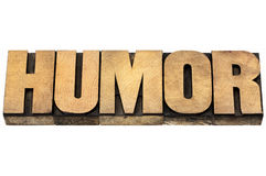 Humor word in wood type. Humor word - isolated text in vintage letterpress wood type royalty free stock image