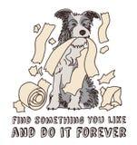 Humor zabawy psa szczęśliwy zwierzę domowe odizolowywa na bielu royalty ilustracja