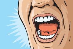 Humorbok som skriker munnen Fotografering för Bildbyråer