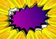 Humorbokbakgrund med den stora purpurfärgade explosionbubblan royaltyfria foton