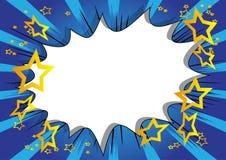 Humorbokbakgrund med den stora tomma explosionbubblan på blå bakgrund arkivbilder