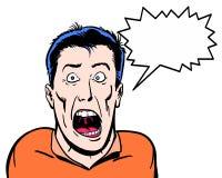 Humorboken illustrerade det galna teckenet som ropar med vit bakgrund Arkivfoto