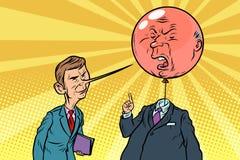 Humorbokkritikern med en lång näsa och den våldsamma bubblan head Arkivfoton