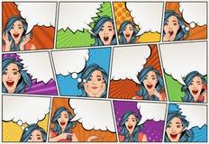 Humorboksida med retro kvinnasamtal Bakgrund för komisk remsa med anförandebubblor vektor illustrationer