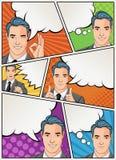 Humorboksida med retro mansamtal Bakgrund för komisk remsa med anförandebubblor vektor illustrationer