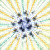 Humorboksidabakgrund med gula strålar, blåa prickar Abstrakt retro komisk bakgrund med prickar Tecknad filmturkosbakgrund royaltyfri illustrationer