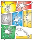 Humorboksidamall med effekter stock illustrationer